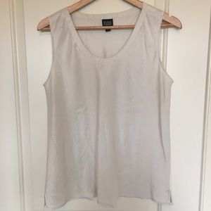Eileen Fisher sleeveless silk top sz L white
